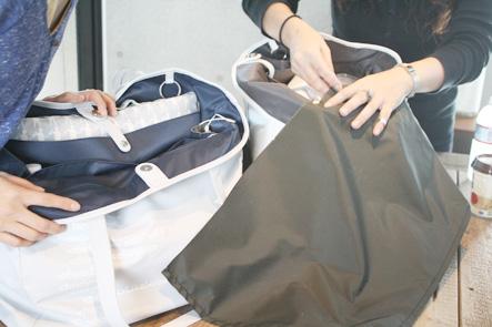 バッグの内側の生地にいろいろなカラー
