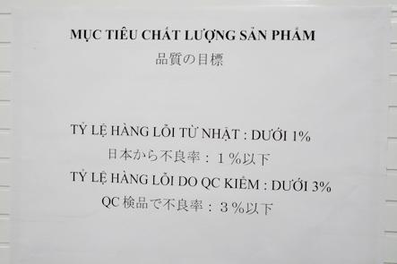 ベトナム工場の品質管理部門