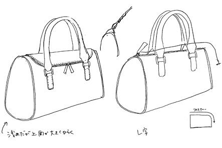 小さいミニボストンバッグのスケッチ図2