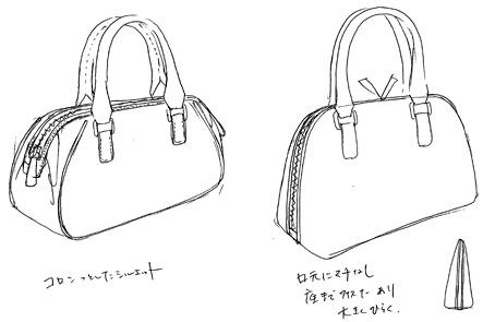小さいミニボストンバッグのスケッチ図3